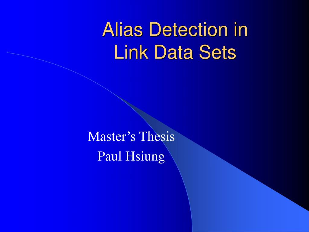 alias detection in link data sets l.