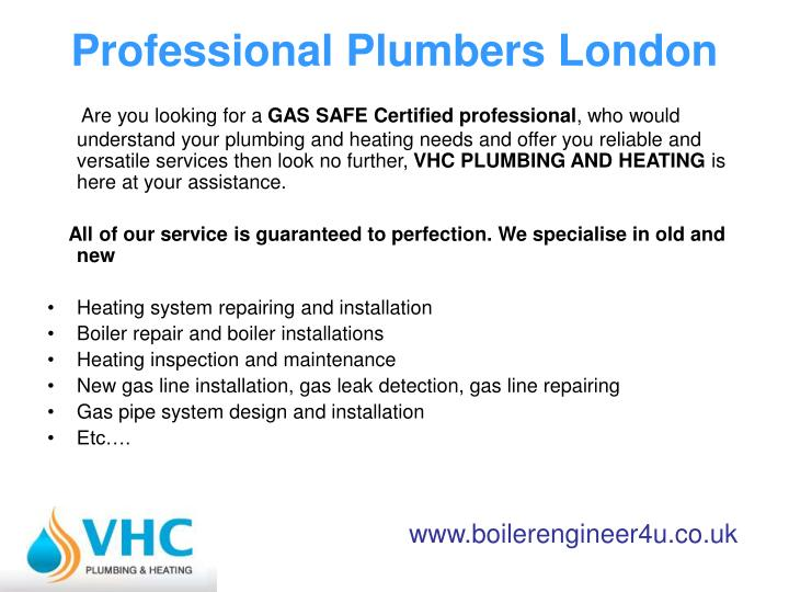 Professional plumbers london