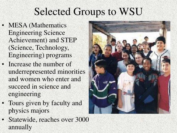 Selected Groups to WSU