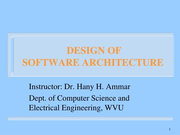 design of software architecture n.