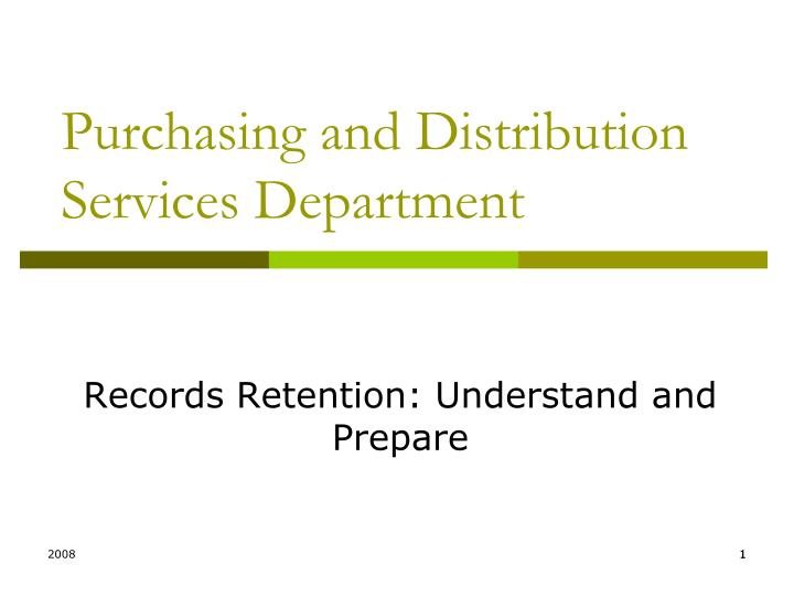 purchasing and distribution services department n.