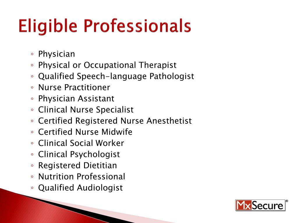Eligible Professionals
