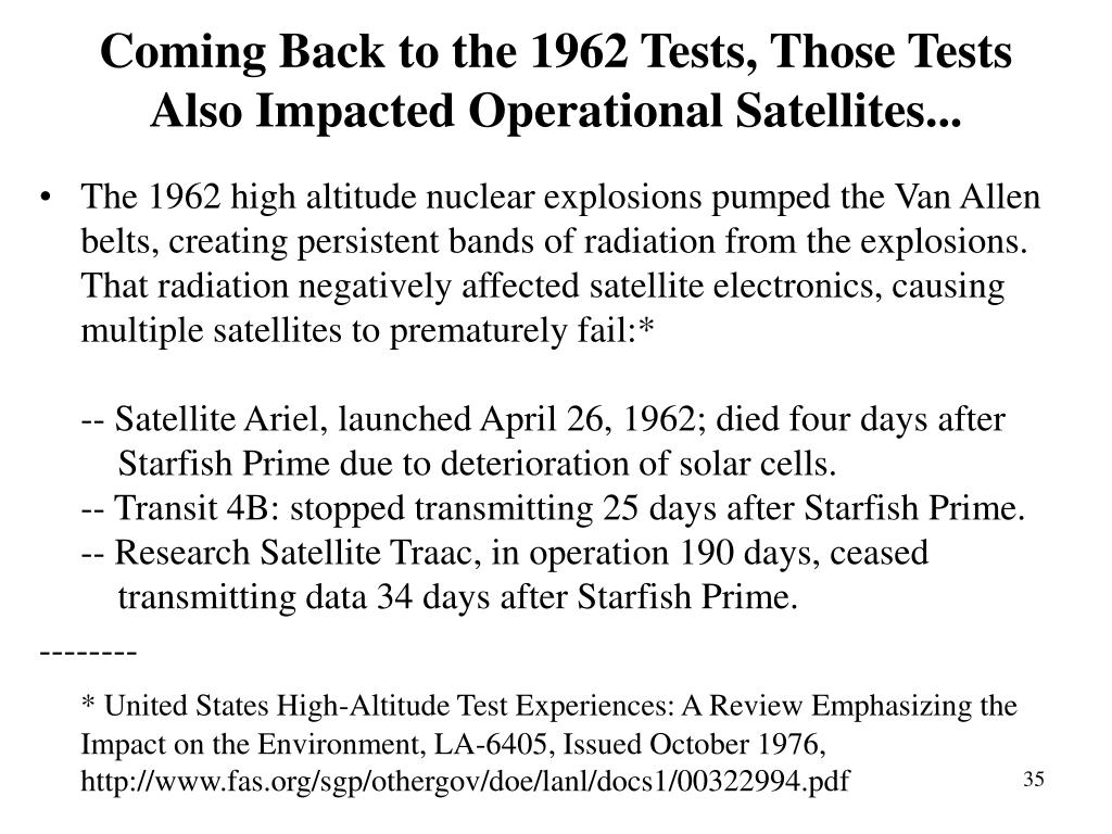 Coming Back to the 1962 Tests, Those Tests