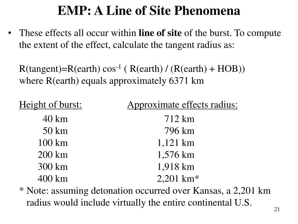 EMP: A Line of Site Phenomena
