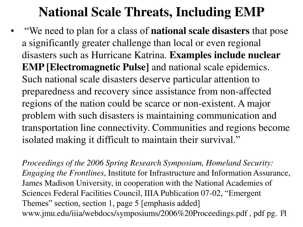 National Scale Threats, Including EMP