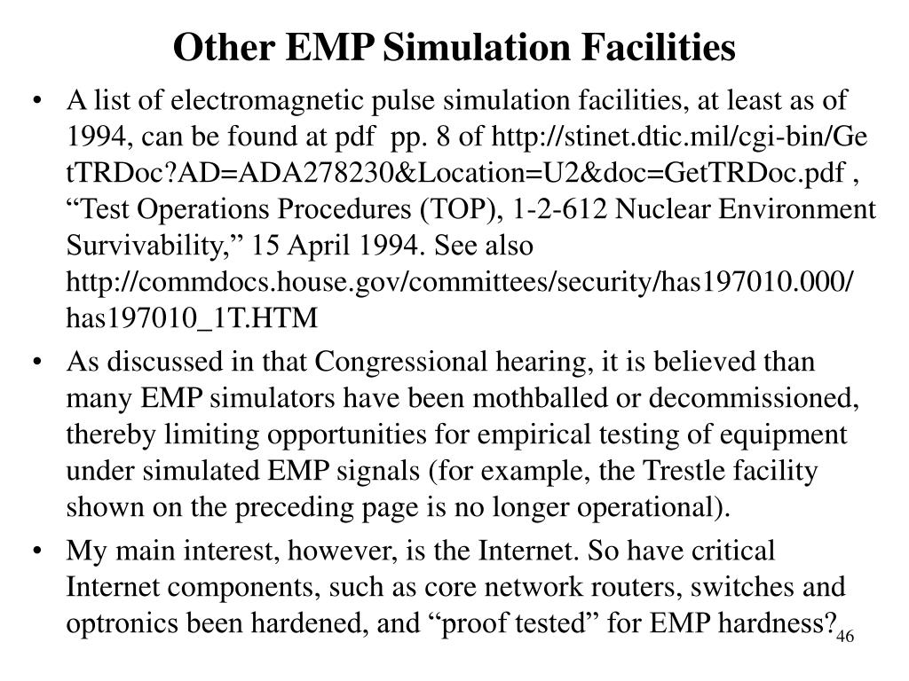 Other EMP Simulation Facilities