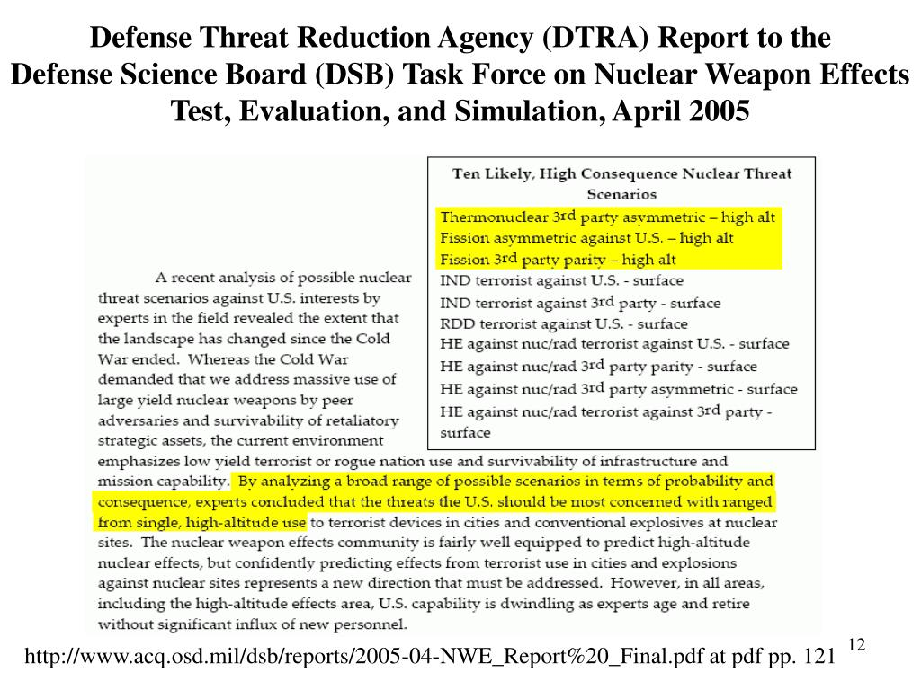 Defense Threat Reduction Agency (DTRA) Report to the