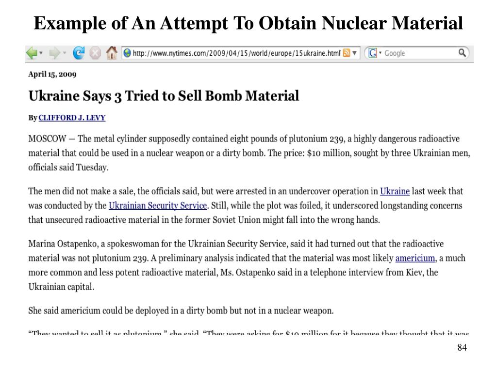 Example of An Attempt To Obtain Nuclear Material