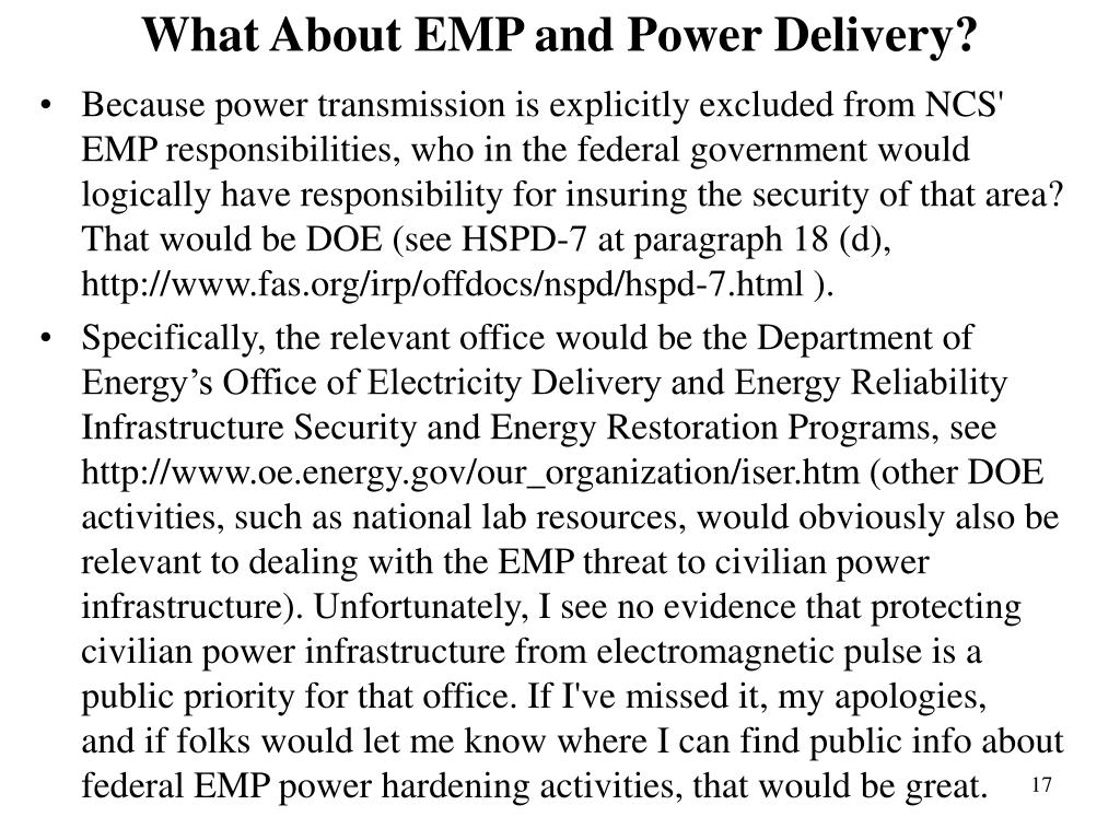 What About EMP and Power Delivery?