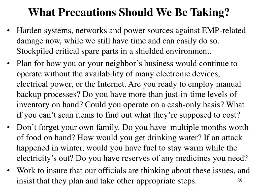 What Precautions Should We Be Taking?