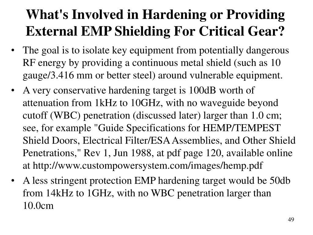 What's Involved in Hardening or Providing External EMP Shielding For Critical Gear?