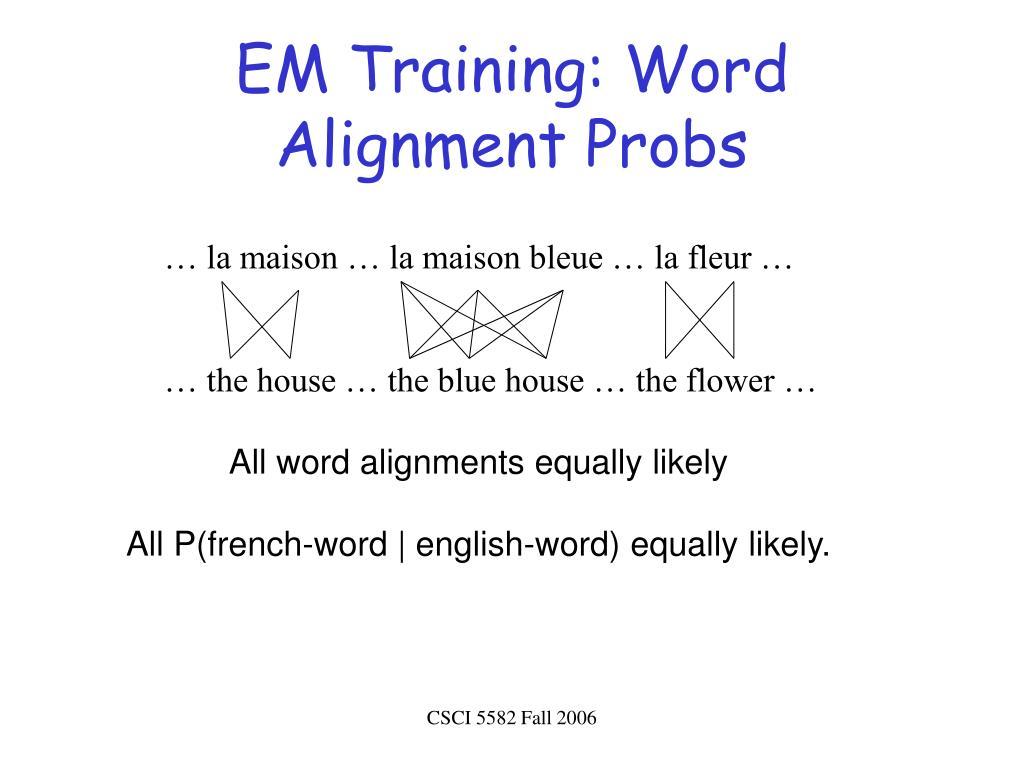 EM Training: Word Alignment Probs