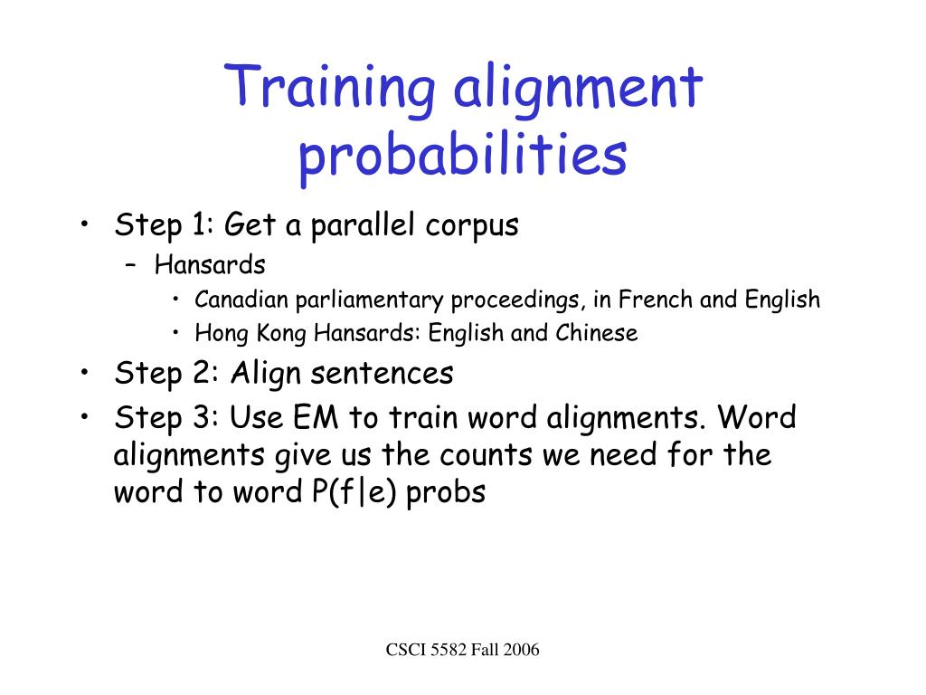 Training alignment probabilities
