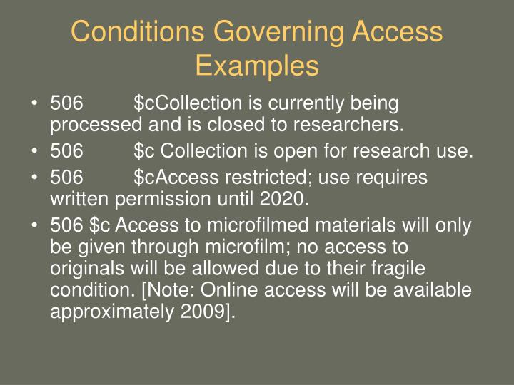 Conditions Governing Access