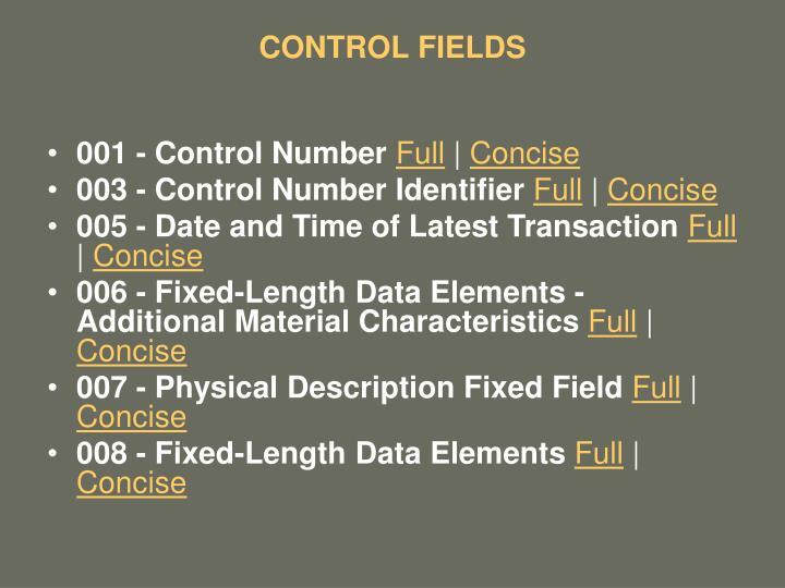 CONTROL FIELDS