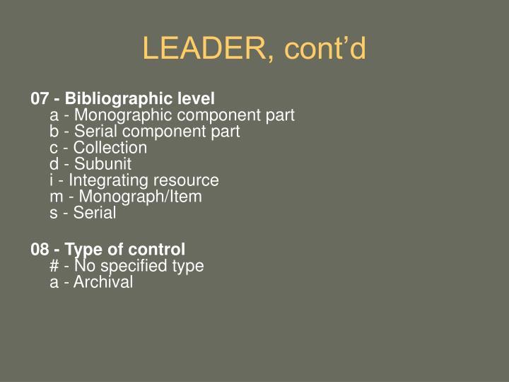 LEADER, cont'd