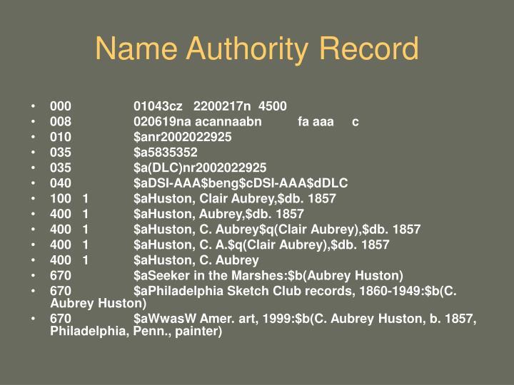 Name Authority Record