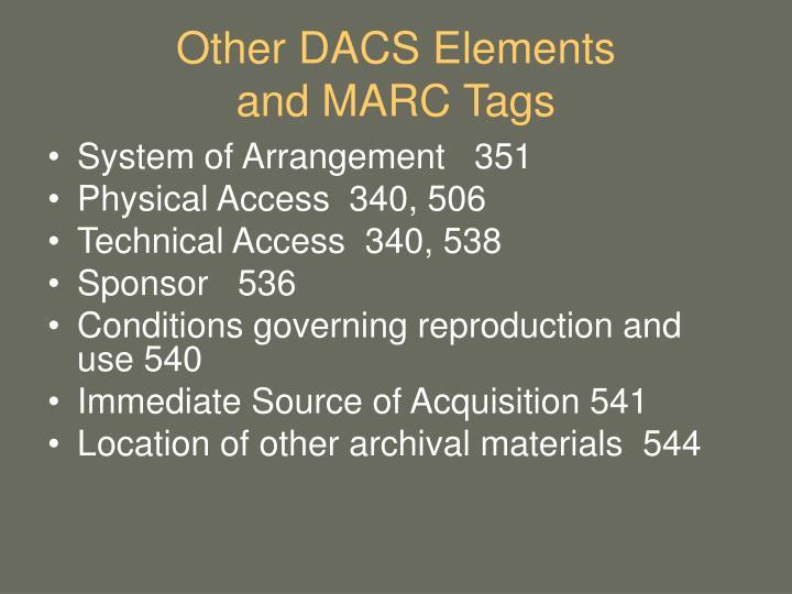 Other DACS Elements