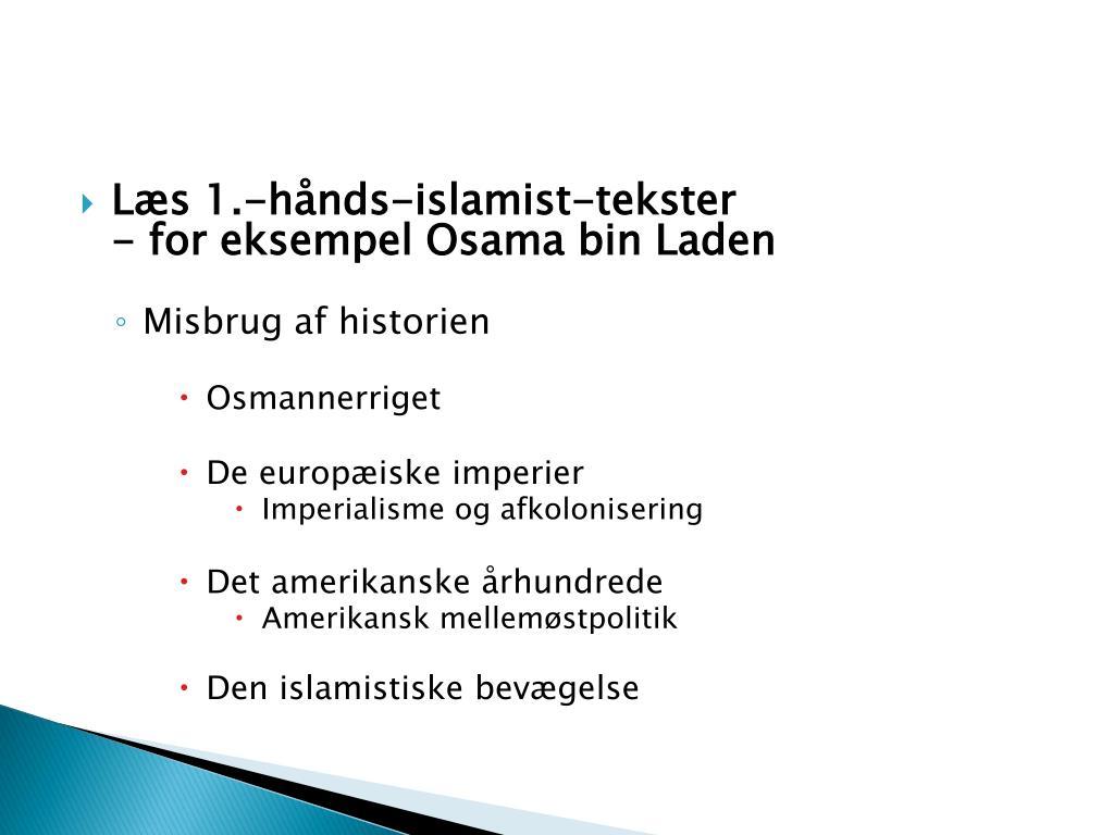 Læs 1.-hånds-islamist-tekster