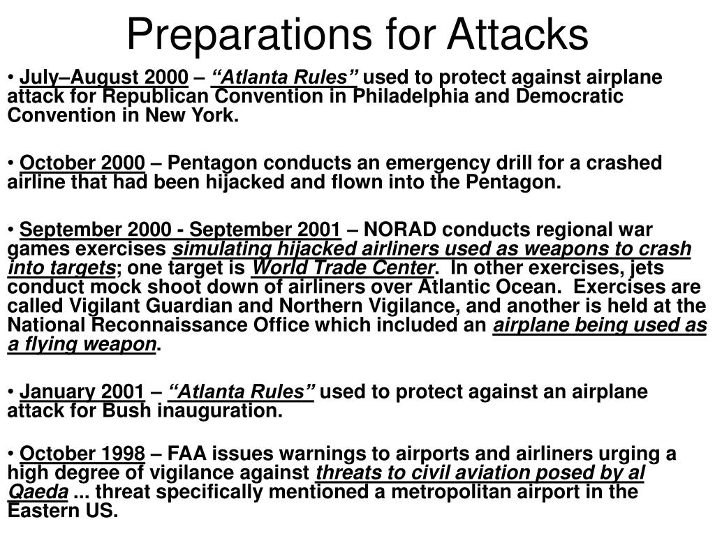 Preparations for Attacks