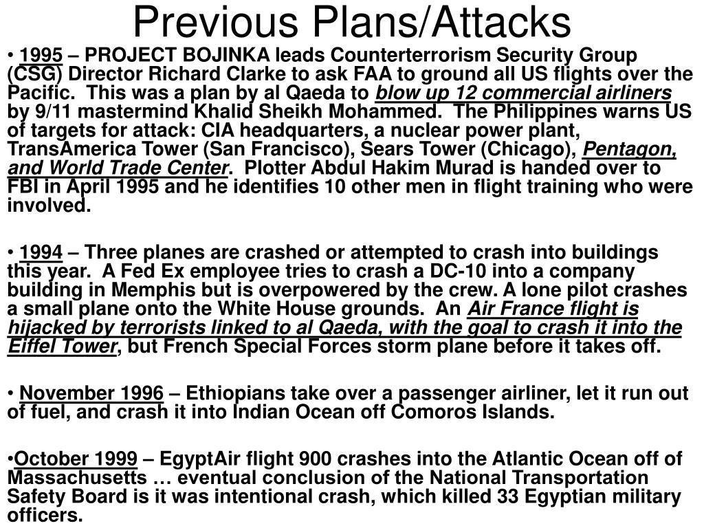 Previous Plans/Attacks