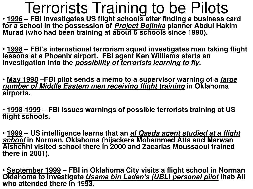 Terrorists Training to be Pilots