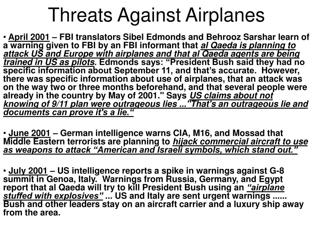 Threats Against Airplanes