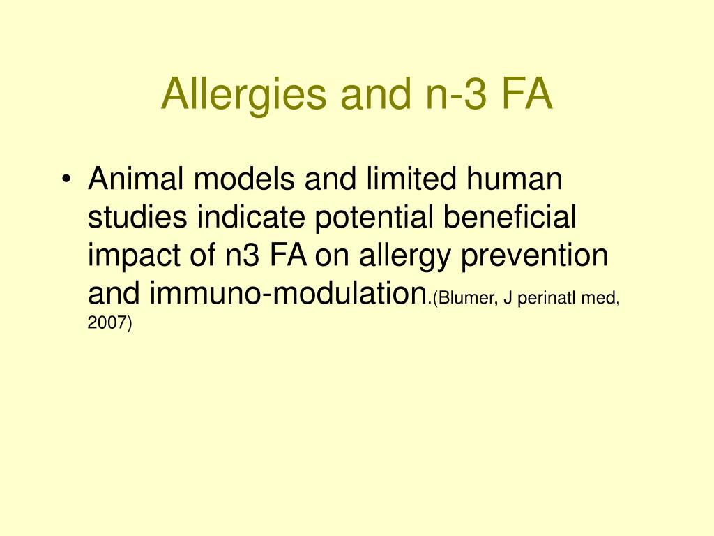 Allergies and n-3 FA