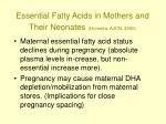 essential fatty acids in mothers and their neonates hornstra ajcn 2000