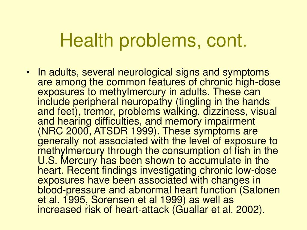 Health problems, cont.