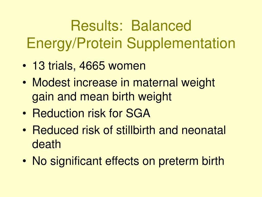 Results:  Balanced Energy/Protein Supplementation