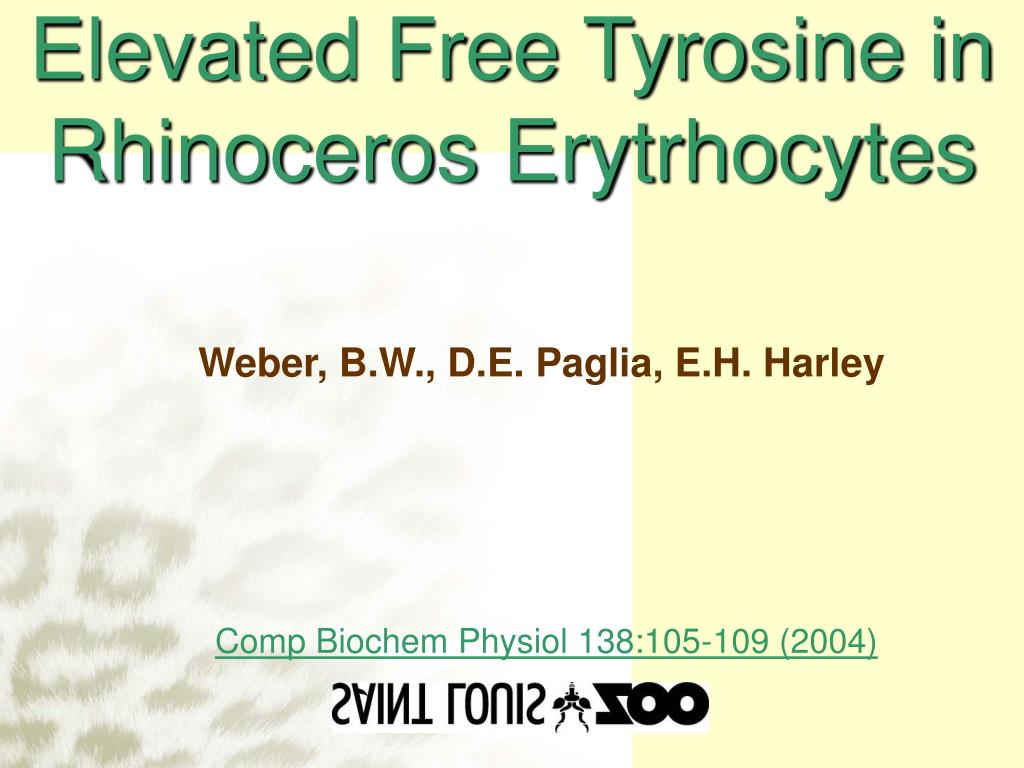 Elevated Free Tyrosine in Rhinoceros Erytrhocytes