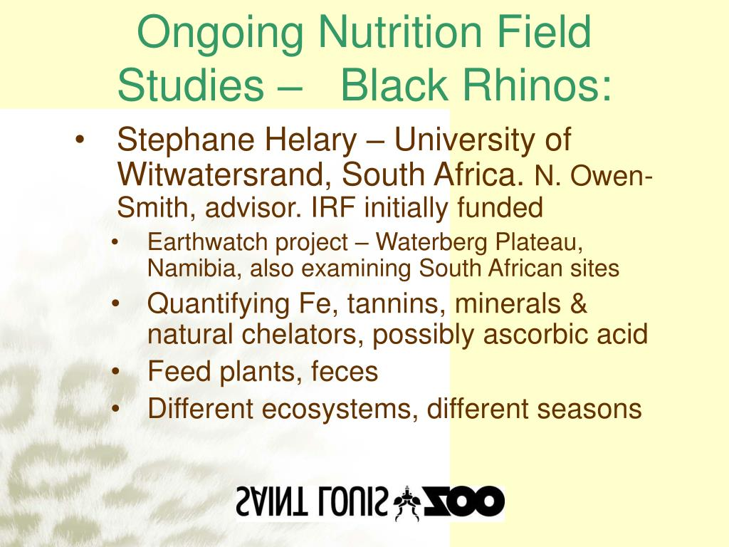 Ongoing Nutrition Field Studies –   Black Rhinos:
