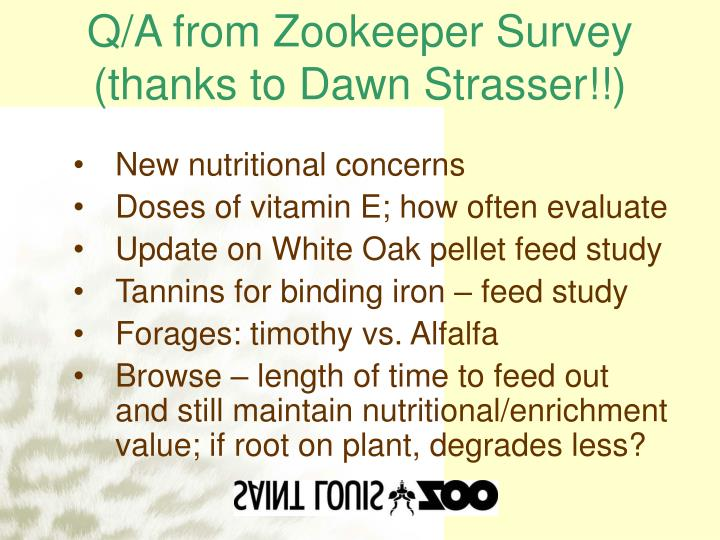Q a from zookeeper survey thanks to dawn strasser
