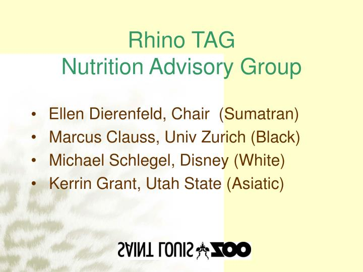 Rhino tag nutrition advisory group