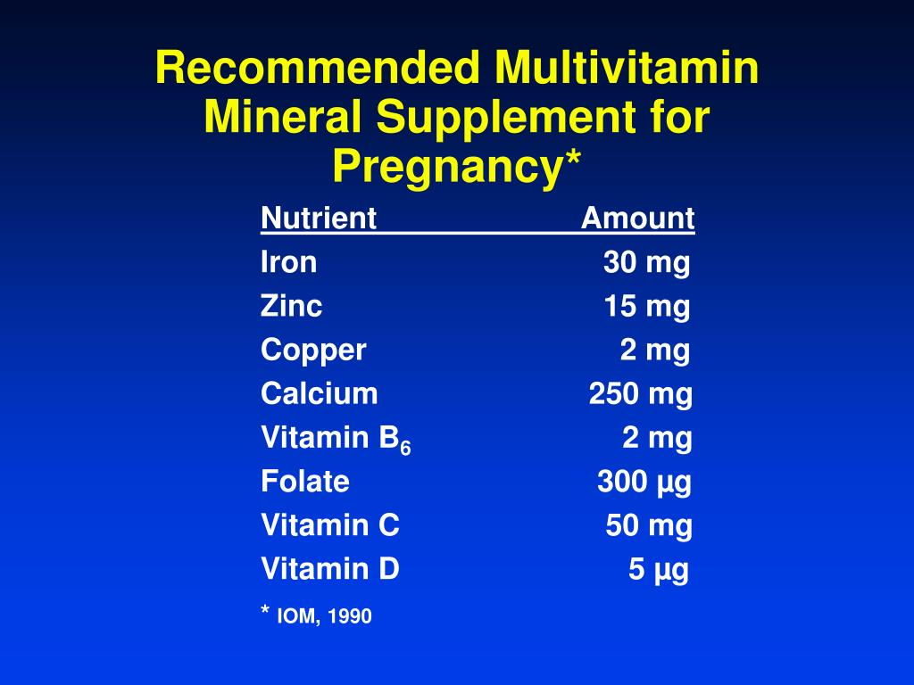 Recommended Multivitamin Mineral Supplement for Pregnancy*