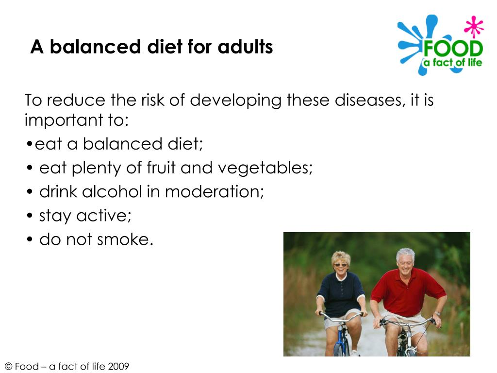 A balanced diet for adults