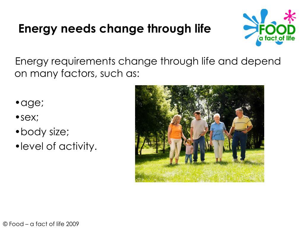 Energy needs change through life
