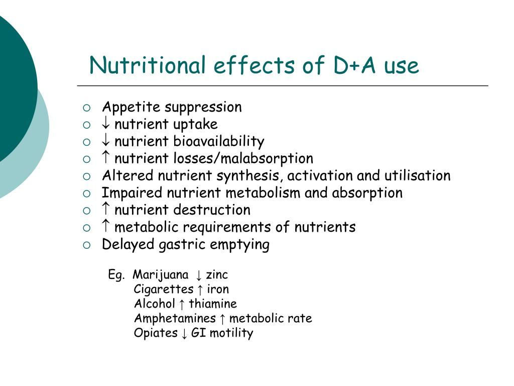Nutritional effects of D+A use