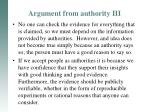 argument from authority iii