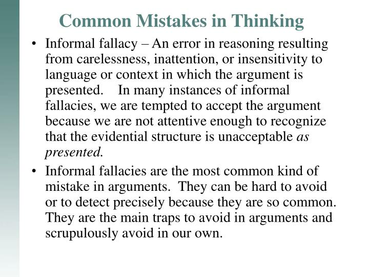 common mistakes in thinking n.