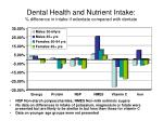 dental health and nutrient intake difference in intake if edentate compared with dentate