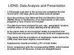 lidns data analysis and presentation