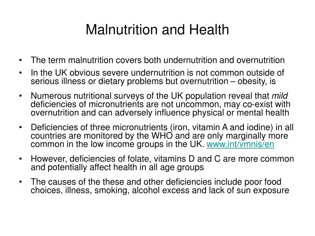 Malnutrition and Health