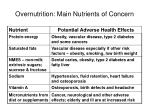 overnutrition main nutrients of concern