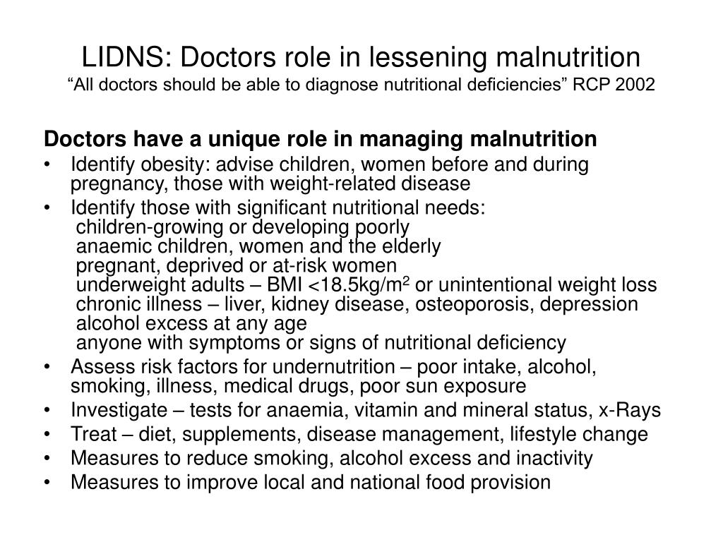 LIDNS: Doctors role in lessening malnutrition