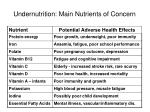 undernutrition main nutrients of concern