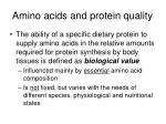amino acids and protein quality