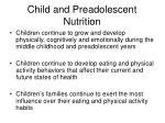 child and preadolescent nutrition