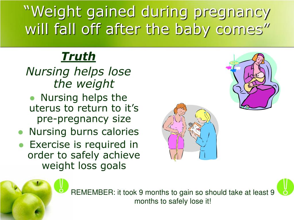 """""""Weight gained during pregnancy will fall off after the baby comes"""""""
